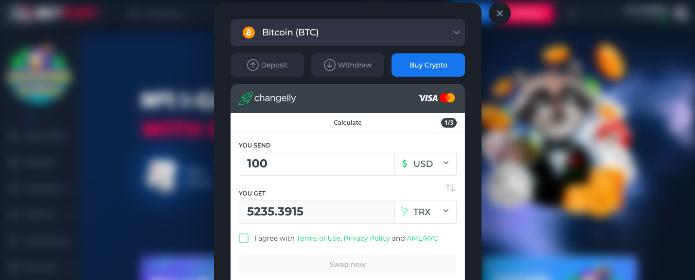 betfury widget which illustrates the example of how changelly widget can be implemented on the website