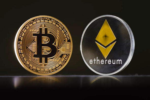 Two leading cryptocurrencies on the market Bitcoin (BTC) and Ethereum (ETH) for long term crypto investment