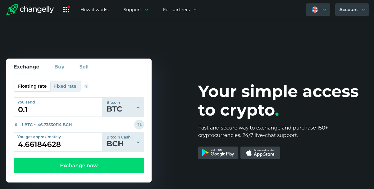 main page of changelly with btc to bch exchange