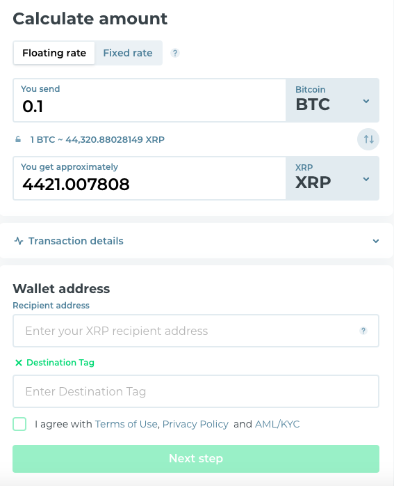 btc to rippple's xrp exchange pair with all the information about transaction