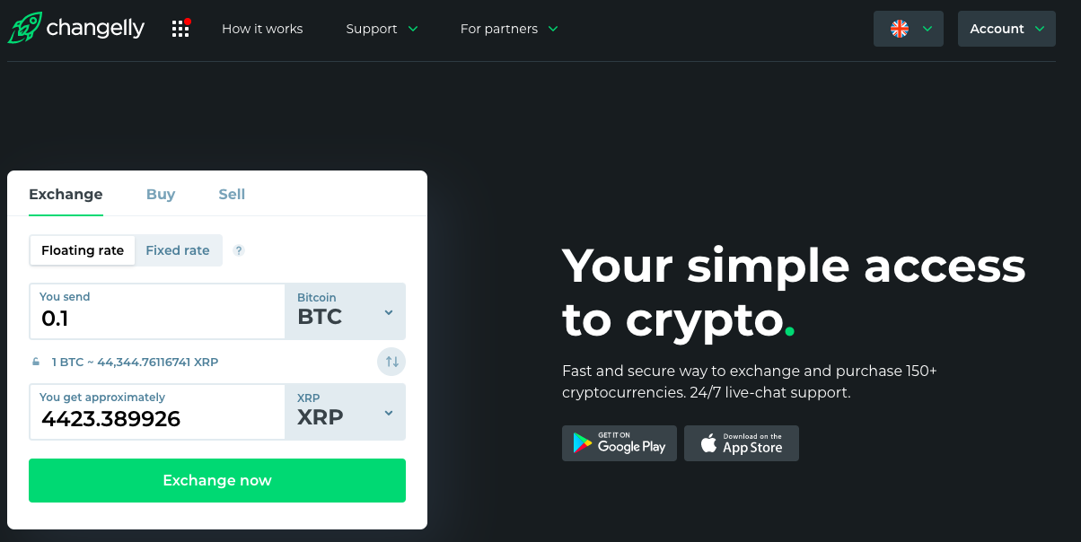 main page with btc to xrp exchange pair widget