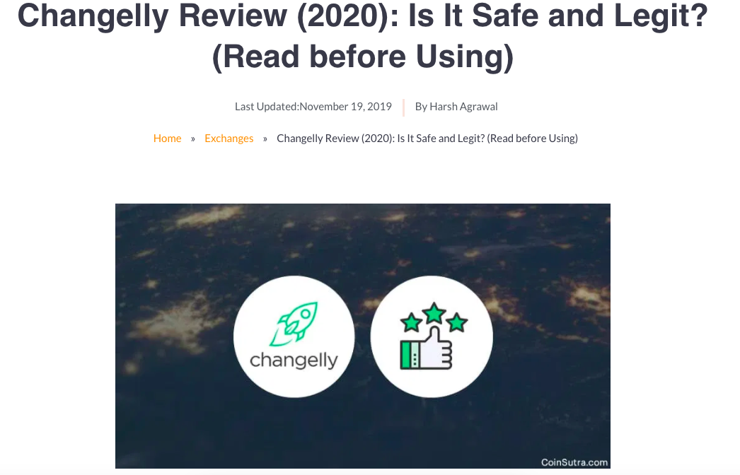 screenshot of blog post on coinsutra blog about changelly