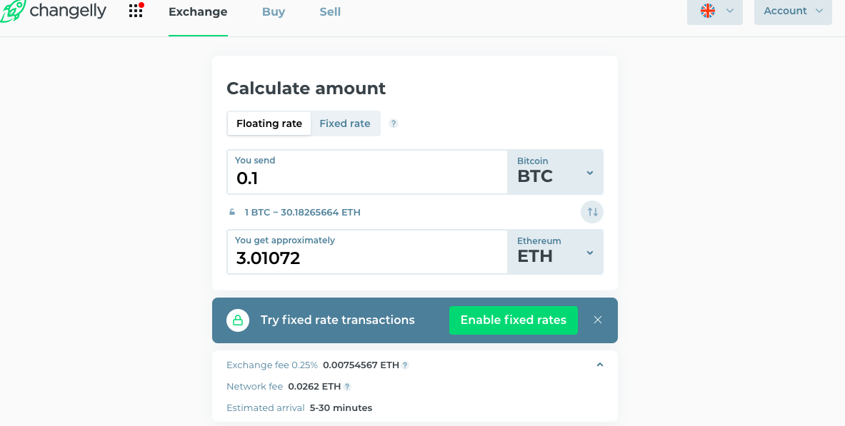 check information in btc to eth exchange
