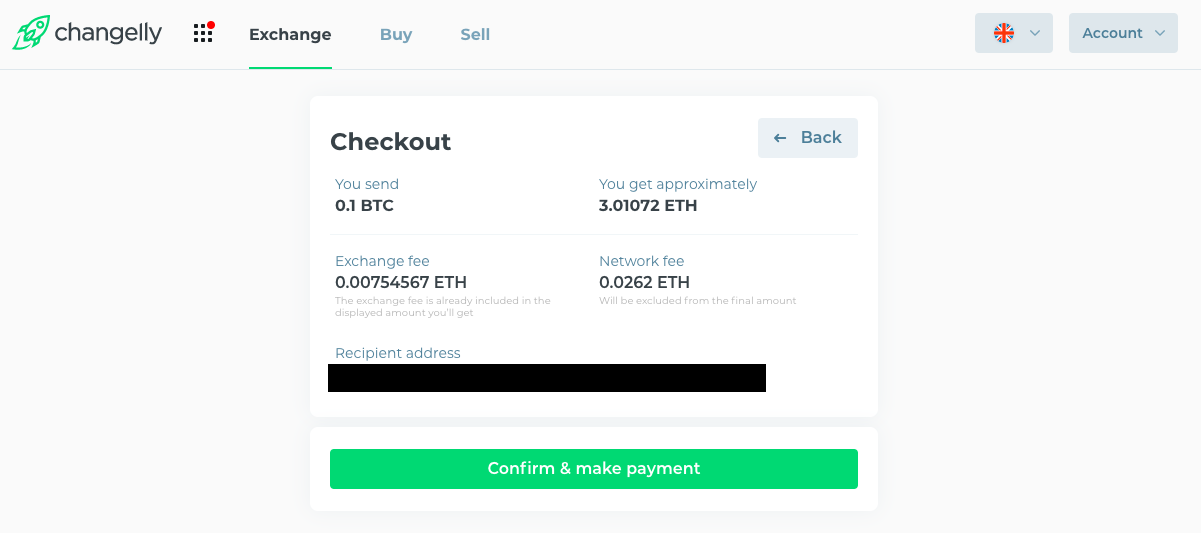 checkout window with what you send in btc and what you get in eth