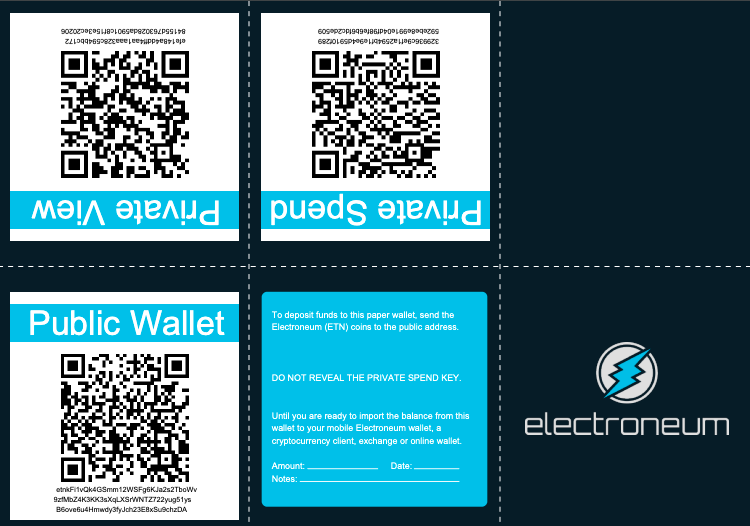 electroneum paper wallet screenshot