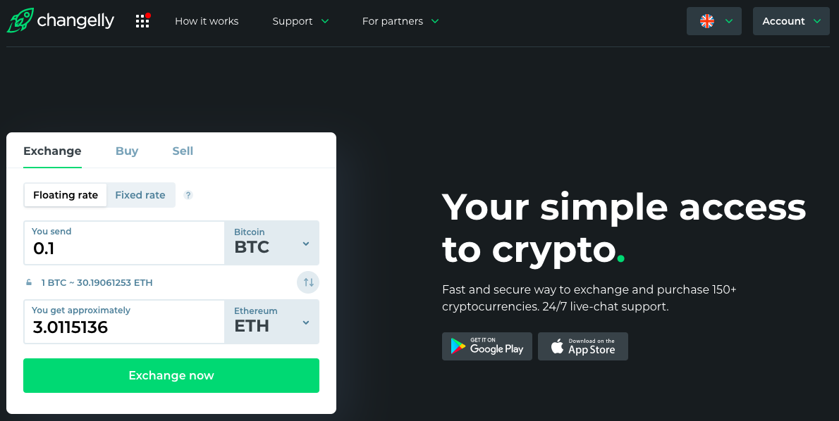 the main page of changelly with widget of btc to eth exchange