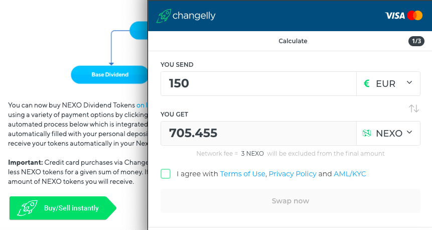 changelly widget on the nexo website as an example of purchase NEXO for EURO