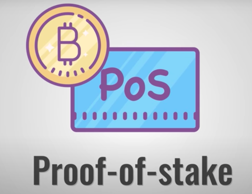 A pictogram of bitcoin on a golden coin near a square blue proof of stake sign with a proof of stake words written below