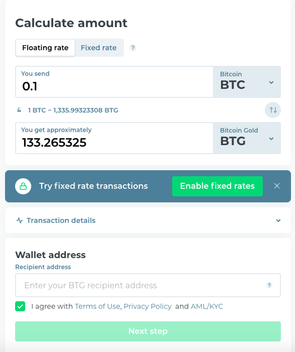 field with recipient wallet address and the details of transaction