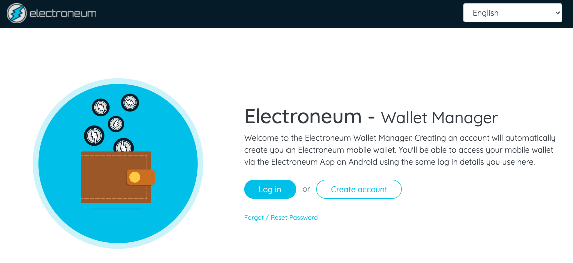 Electroneum Web Wallet screenshot