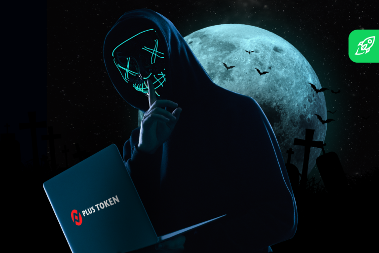 plustoken article cover with a hacker and plustoken logo