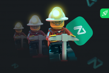 zilliqa coin mining article cover with a lego miner and zil coin logo