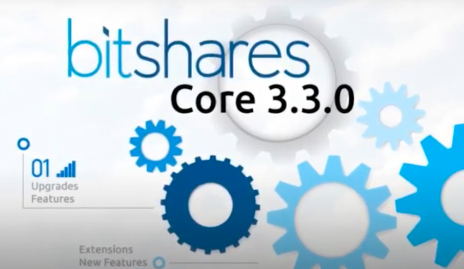 A bitshares core 3.3.0 sign with dark and light blue gear-wheels and upgrade features, extensions, and new features written on it