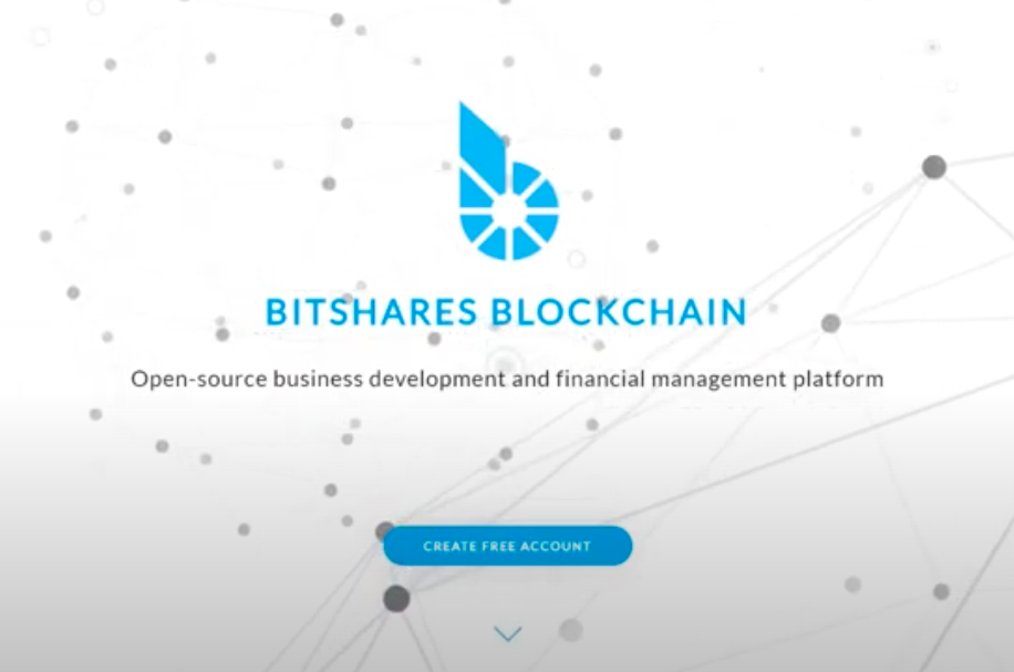 A print screen of BitShares website home page with a logo, a motto, and a blue create account button