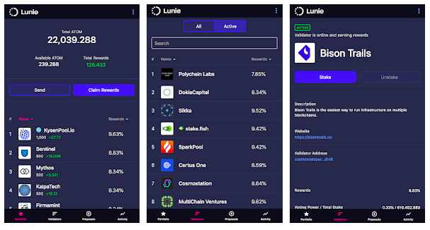 lunie wallet interface of mobile app with balance and possible assets