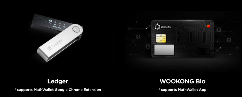 Ledger Nano and WOOKONG Bio hardware wallets that are compatible with Mathwallet