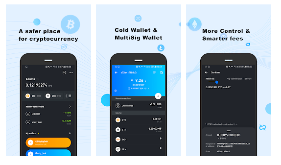 ownbit wallet mobile screenshots with active assets