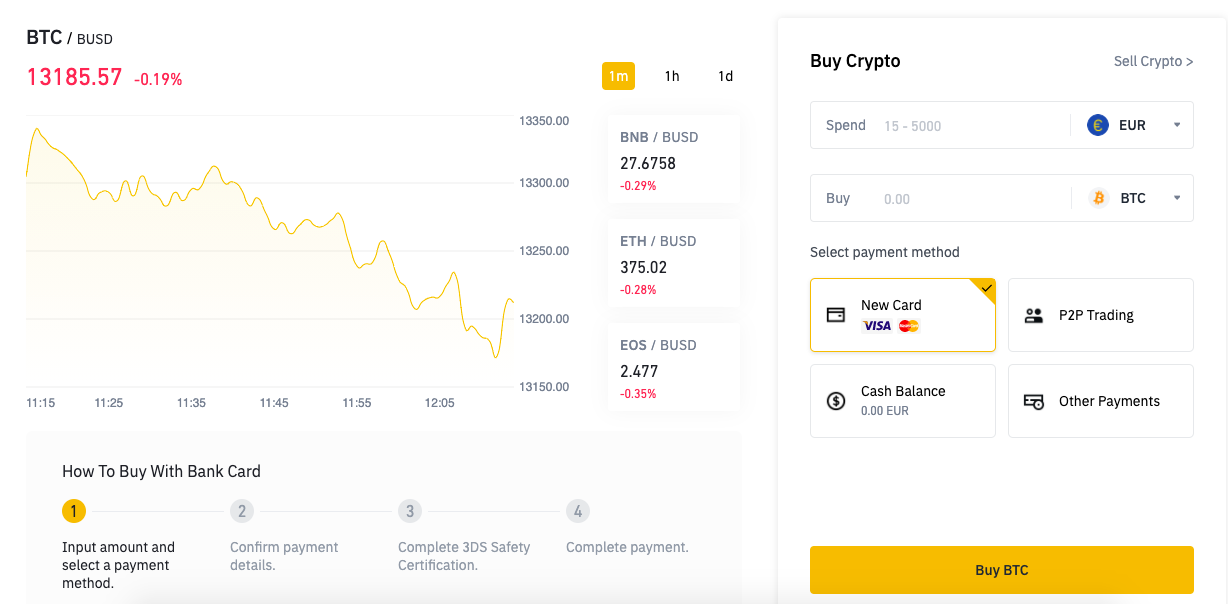binance buying page with bitcoin rate and exchange pair