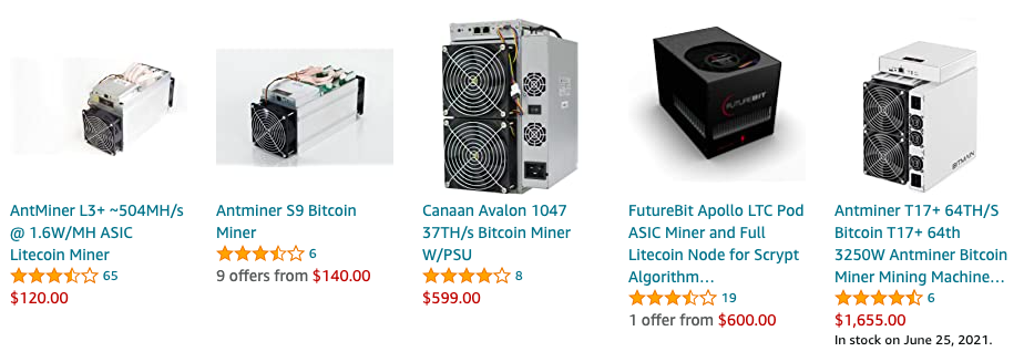buy cryptocurrency miners on amazon
