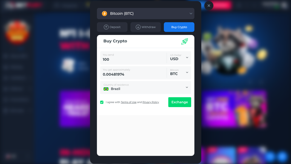 betfury screenchot with changelly widget