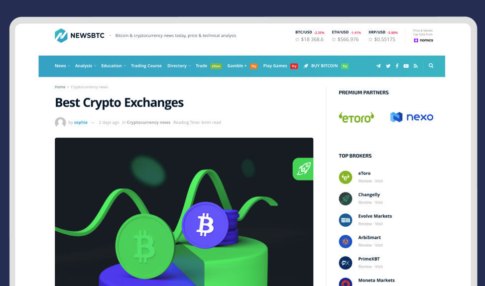 newsbtc screenshot with changelly articles